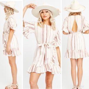 Lost + Wander Mariana Ruffle Stripe Mini Dress S